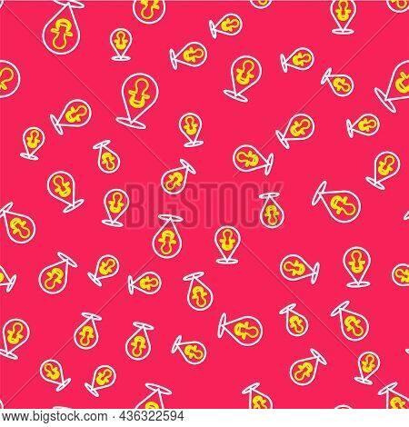 Line Baby Dummy Pacifier Icon Isolated Seamless Pattern On Red Background. Toy Of A Child. Vector