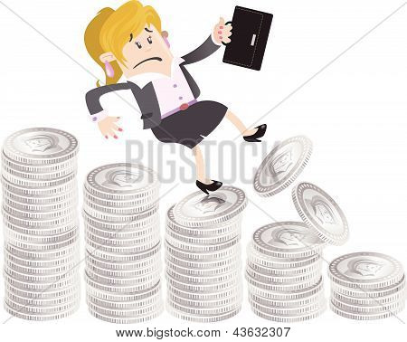 Businesswoman Buddy falls down the money hill