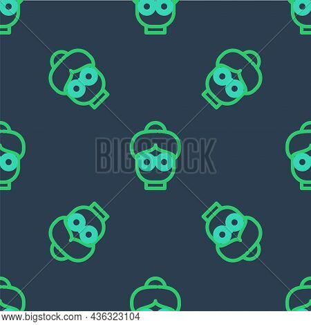 Line Grandmother Icon Isolated Seamless Pattern On Blue Background. Vector