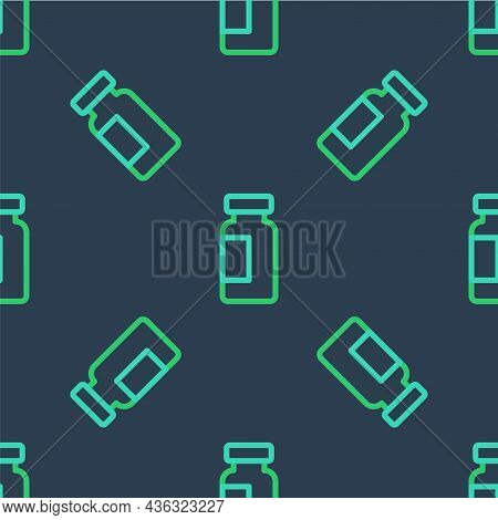 Line Test Tube And Flask Chemical Laboratory Test Icon Isolated Seamless Pattern On Blue Background.