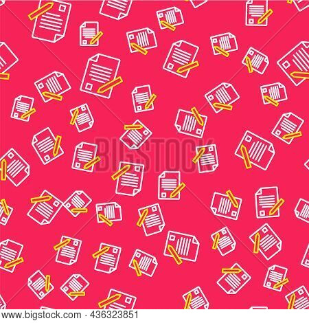 Line Exam Sheet And Pencil With Eraser Icon Isolated Seamless Pattern On Red Background. Test Paper,