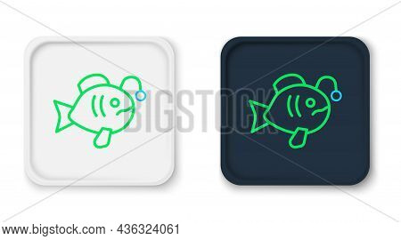 Line Tropical Fish Icon Isolated On White Background. Exotic Fish. Colorful Outline Concept. Vector