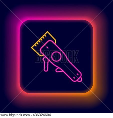 Glowing Neon Line Electrical Hair Clipper Or Shaver Icon Isolated On Black Background. Barbershop Sy
