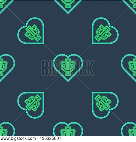 Line Psychology Icon Isolated Seamless Pattern On Blue Background. Psi Symbol. Mental Health Concept