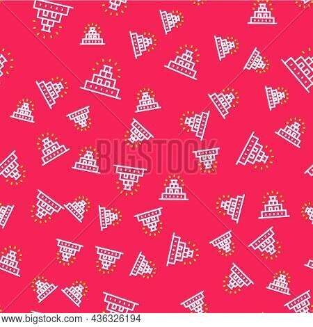 Line Chichen Itza In Mayan Icon Isolated Seamless Pattern On Red Background. Ancient Mayan Pyramid.