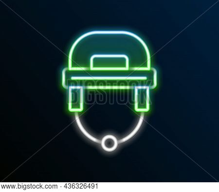 Glowing Neon Line Hockey Helmet Icon Isolated On Black Background. Colorful Outline Concept. Vector
