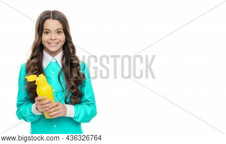 Hydration For Health. Happy Girl Hold Reusable Bottle Isolated On White. Health Matters, Copy Space