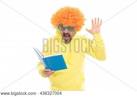 Literary Fan. Surprised Nerd In Wig Read Book. Examination In Literary English