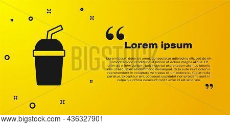 Black Paper Glass With Drinking Straw And Water Icon Isolated On Yellow Background. Soda Drink Glass