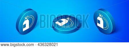 Isometric Dishwashing Liquid Bottle And Plate Icon Isolated On Blue Background. Liquid Detergent For