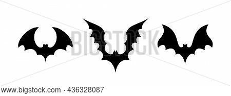The Bats. Flittermouse, Flier, Rearmouse Icon Set. Black Silhouettes Of Bats Isolated On White Backg