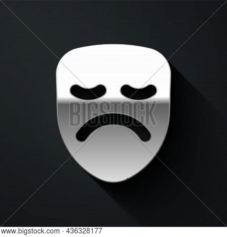 Silver Drama Theatrical Mask Icon Isolated On Black Background. Long Shadow Style. Vector