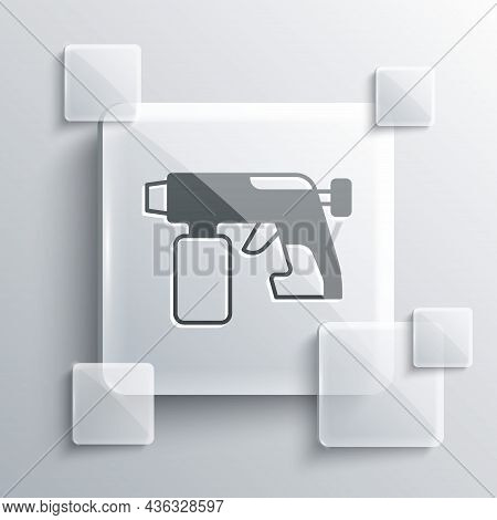 Grey Paint Spray Gun Icon Isolated On Grey Background. Square Glass Panels. Vector