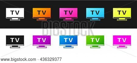 Set Smart Tv Icon Isolated On Black And White Background. Television Sign. Vector