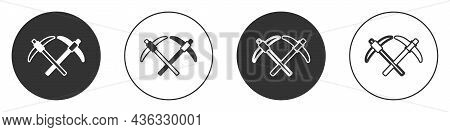 Black Pickaxe Icon Isolated On White Background. Circle Button. Vector