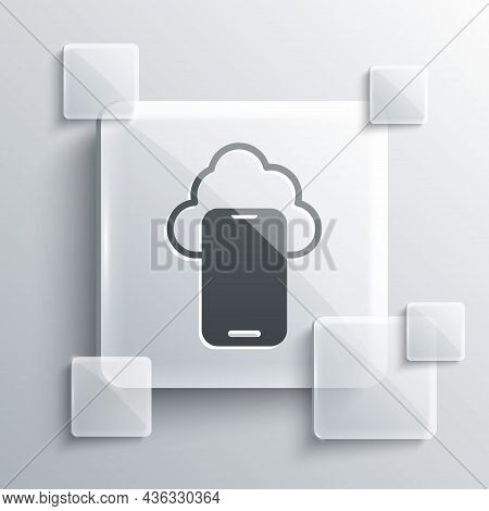 Grey Cloud Technology Data Transfer And Storage Icon Isolated On Grey Background. Square Glass Panel