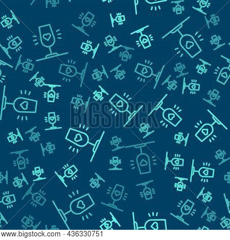 Green Line Wine Glass Icon Isolated Seamless Pattern On Blue Background. Wineglass Sign. Favorite Wi
