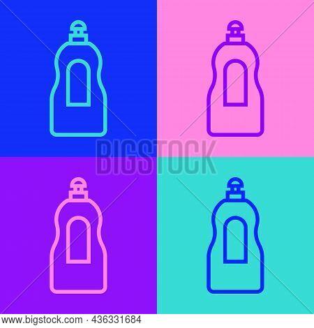 Pop Art Line Dishwashing Liquid Bottle Icon Isolated On Color Background. Liquid Detergent For Washi
