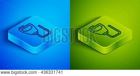 Isometric Line Walkie Talkie Icon Isolated On Blue And Green Background. Portable Radio Transmitter