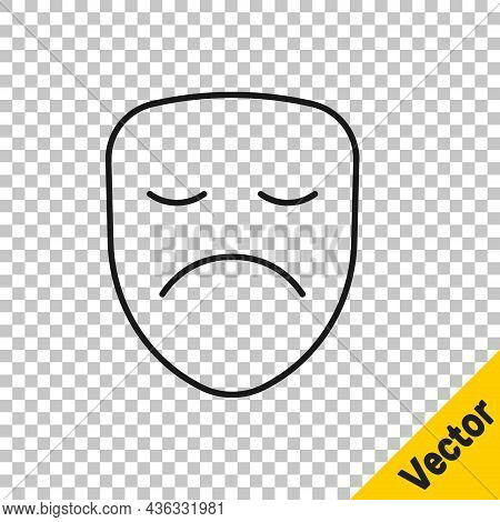Black Line Drama Theatrical Mask Icon Isolated On Transparent Background. Vector