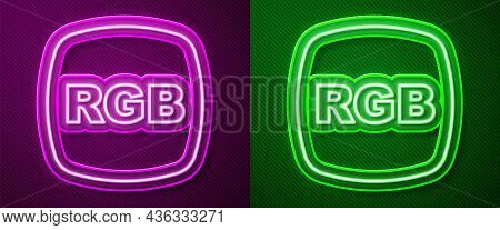 Glowing Neon Line Speech Bubble With Rgb And Cmyk Color Mixing Icon Isolated On Purple And Green Bac