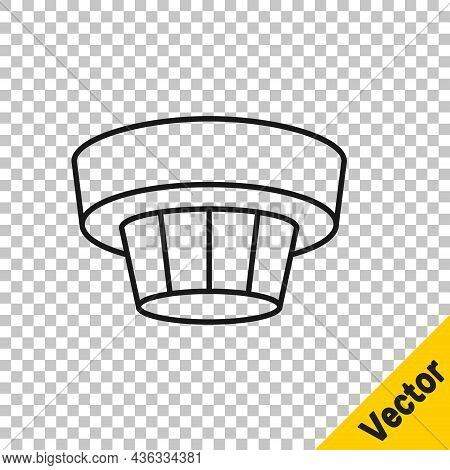 Black Line Smoke Alarm System Icon Isolated On Transparent Background. Smoke Detector. Vector