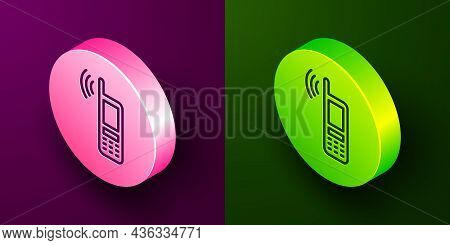 Isometric Line Smartphone With Free Wi-fi Wireless Connection Icon Isolated On Purple And Green Back