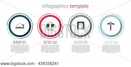 Set Miner Helmet, Entrance, And Pickaxe. Business Infographic Template. Vector