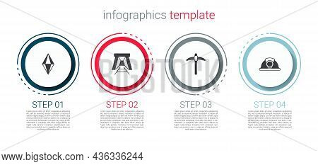 Set Gem Stone, Mine Entrance, Pickaxe And Miner Helmet. Business Infographic Template. Vector