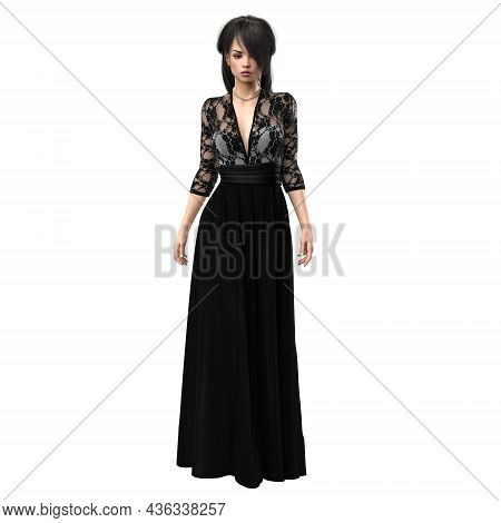 Woman In Beautiful Black Evening Gown, 3d Rendering, 3d Illustration