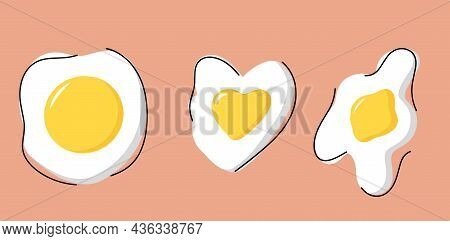 A Set Of Fried Eggs, A Collection Of Soft-boiled Eggs. Delicious And Healthy Breakfast Of Eggs. The