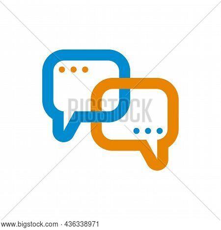 Two Connected Comment Bubbles. Conversation, Communication Symbol. Logo Support Service. Help Of Coa