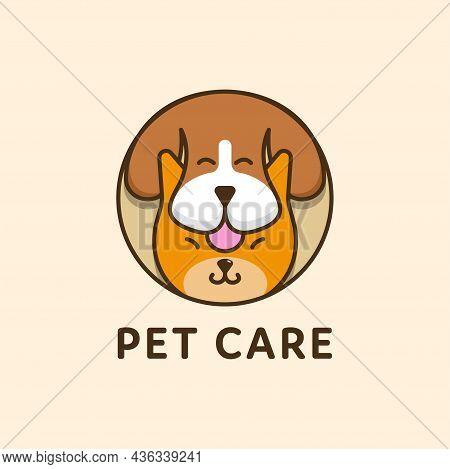 Cat And Dog Pet Circular Combination Logo. Pet Shop Logo Design Stock Illustrations. Dog Cat Logo. A