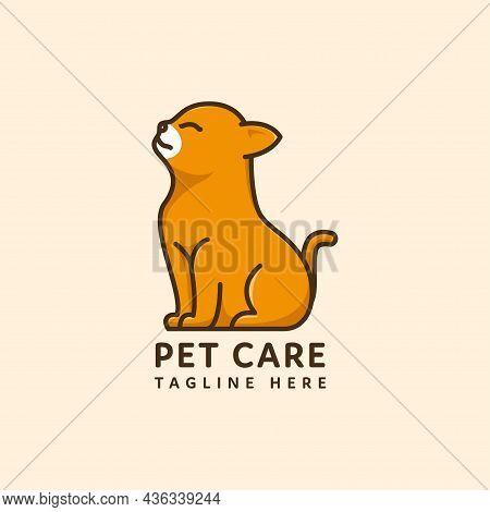 Pet Logo Sitting Cat Vector Flat Style Design. Pet Shop Logo Design Stock Illustrations. Dog Cat Log
