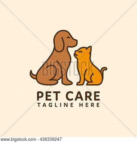 Cat And Dog Pet Care Logo Flat Style Design. Pet Shop Logo Design Stock Illustrations. Dog Cat Logo.