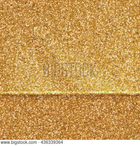 Transparent Glass Over Top Of Golden Glittering Background. Template For Product Demonstrations. Vec