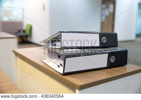Office Equipment, Close-up Heap Document Folder Stack For Overwork Paper Or Reuse Printout On Office
