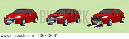 Cartoon Vector Or Illustration. Status Of The Red Car From Normal Car To The Car Was Slightly Damage
