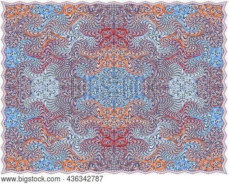 Rectangular Lacy Napkin, Serviette, Carpet, Tapestry Wirh Oriental Symmetrical Pattern In Blue, Brow