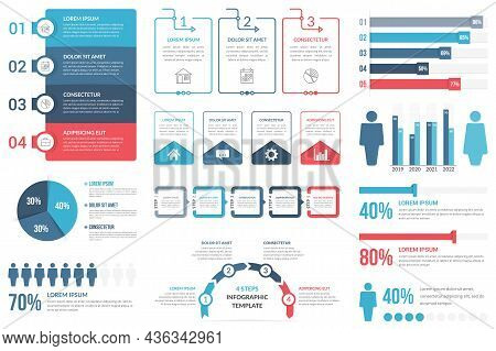 Infographic Elements - Steps And Options, Percents, People Infographics, Pie Chart And Bar Graph, Ve