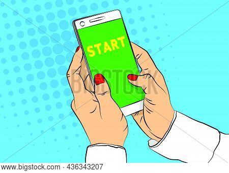 Start Text On Smartphone Screen. Cartoon Vector Illustrated Mobile Phone.