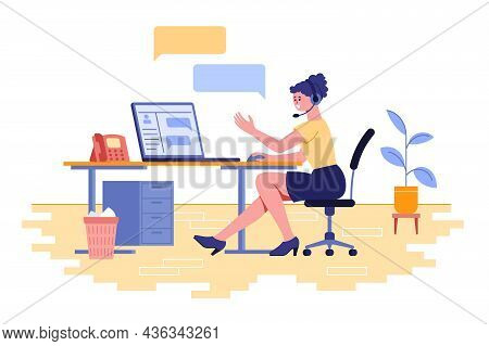Female Character Work As Technical Support Vector Illustration. Hotline Operator Advises Client Onli