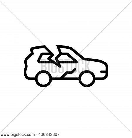 Black Line Icon For Crack Car Rift Split Fissure Accident Break Rupture Damage
