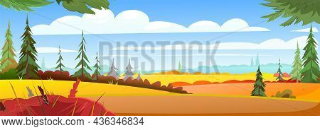 Autumn Landscape. Young Pine. Beautiful Bright Rural Scene With Orange And Yellow Grass And Plants.