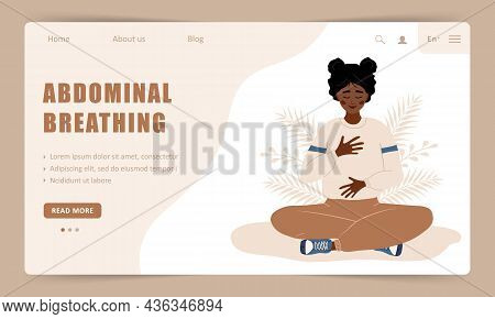 Diaphragmatic Breathing. Landing Page Template. African Girl Practicing Abdominal Breathing For Rela