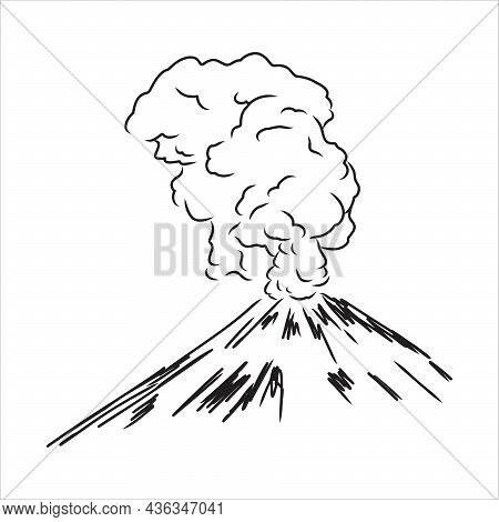 Vector Draw Sketch Of The Volcano. The Eruption And Smoke Against The Sky With Clouds.