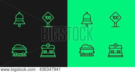 Set Line Railway Station, Coal Train Wagon, Train Bell And Speed Limit Traffic Sign 100 Km Icon. Vec