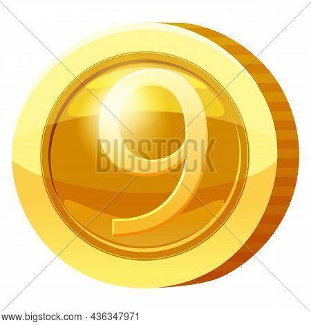 Gold Medal Coin Number 9 Symbol. Golden Token For Games, User Interface Asset Element. Vector Illust