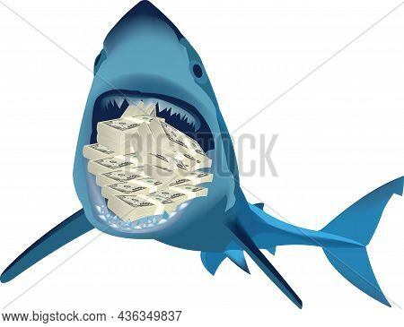 Ferocious Shark With Money Currency In Its Jaws