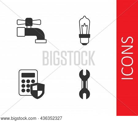 Set Wrench Spanner, Water Tap, Security Keypad Access Panel And Light Bulb Icon. Vector